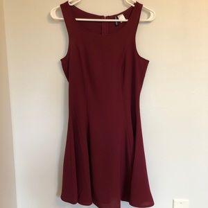 H&M Burgundy Fit&Flare Dress